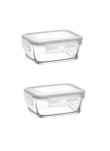 Lav Saklama Kabı 2 Li Cam Kilitli Saklama Kabı Frs237 400Cc Beyaz Renkli